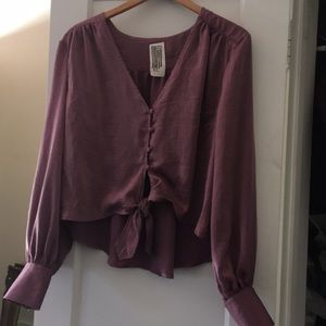 Free people new blouse sz s top l/s high end low